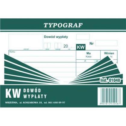 Druk KW Dowód Wypłaty Typograf 01048 A6 80kar