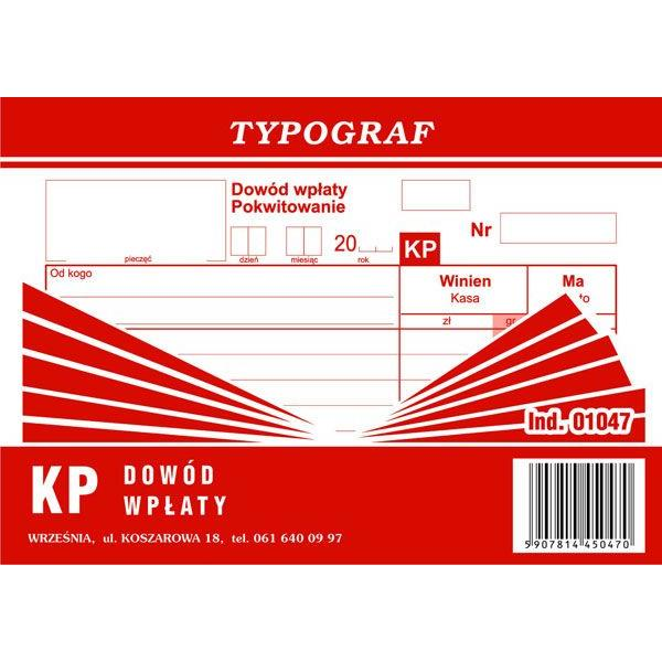 Druk KW Dowód Wpłaty Typograf 01048 A6 80kar