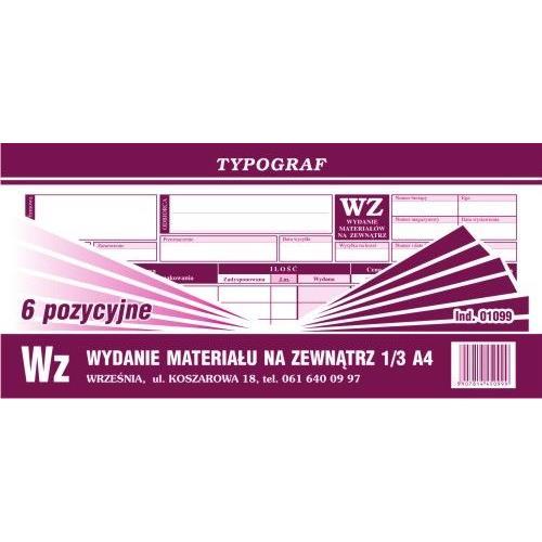 Druk WZ wydanie na zewnątrz Typograf 01099 1/4 A4 80 kartk.